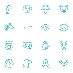 Set Of 16 Brute Outline Icons Set.Collection Of Horse, Feline Bear, Giraffe And Other Elements.
