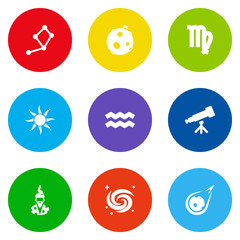 Set Of 9 Astronomy Icons Set.Collection Of Lunar, Augur, Binoculars And Other Elements.