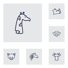 Set Of 6 Alive Outline Icons Set.Collection Of Rhino, Pig, Cow And Other Elements.