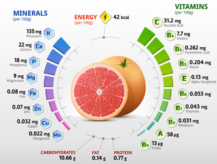 Vitamins and minerals of grapefruit fruit. Infographics about nutrients in raw grapefruit. Best vector illustration for fruits, vitamins, agriculture, health food, nutrients, diet, etc