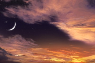 Red sunset and moon . Eid Mubarak background  .  Against the background of clouds . beautiful sky . Nasa .