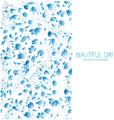 beautiful drawings with pattern of flowers in blue tones on a white background with the words beautiful day