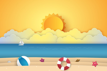 Summer time , sea with beach  , paper art style