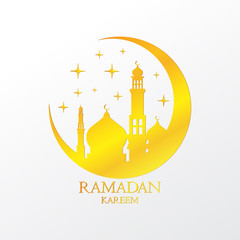Gold Crescent with Mosques and Stars on White Background Vector Design. Ramadan Kareem Greeting Illustration. Eid Celebration