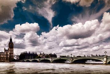 Peinture, Londres, la tamise et big ben