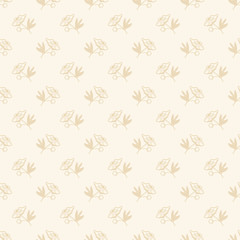 Delicate seamless background with small flowers. Repeatable floral background print on the fabric, textile, Wallpaper, wrapping paper, patchwork, scrap-booking. Color ecru. Illustration. Vintage style