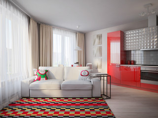 Modern Urban Contemporary Scandinavian Studio open living room, dining room and kitchen Interior Design with beige walls, white furniture and white and red glossy kitchen. 3d render