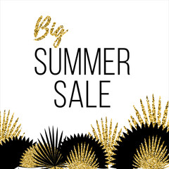 Summer sale Poster template with palm leaves Vector illustration The inscription Big summer sale on a white background with an ornament of different black and gold palm leaves