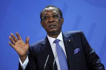 Chad President Deby addresses the media after a meeting with German Chancellor Merkel at the Chancellery in Berlin