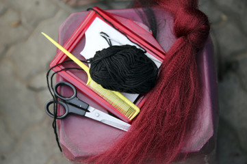 Items used in hairdressing are seen at a makeshift saloon in Soweto