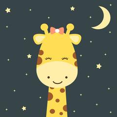 cute cartoon giraffe in the night starry sky funny vector illustration