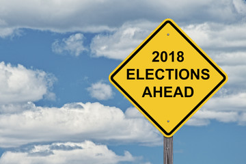 Caution Sign Blue Sky - 2018 Election Ahead