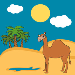 cute cartoon camel dromedary in the desert funny vector illustration