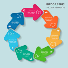 Vector infographic template for diagram, graph, presentation, chart, business concept with 7 options.