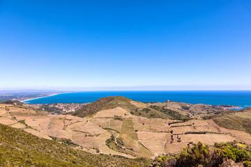 Collioure vue depuis la côte de Vermeille, Pyrénées- Orientales, Catalogne, Languedoc-Roussillon, France