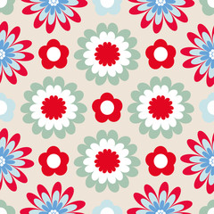 Bright floral pattern. Seamless vector background with fabulous flowers for printing on fabric, paper, gift wrapper, household goods, interior. Beautiful flower buds on a white background