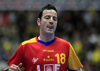 Spain's Fernandez reacts during their bronze medal match against Sweden at the Men's Handball World Championship in Malmo