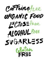 Inscription on a healthy food theme