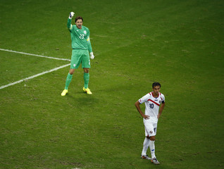 Goalkeeper Krul of the Netherlands celebrates after saving a penalty Costa Rica's Ruiz during a penalty shootout in their 2014 World Cup quarter-finals in Salvador