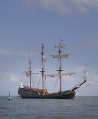 Historic sailing ship at sea