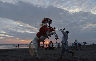 A man directs his decorated horse for onlookers on Clifton beach in Karach