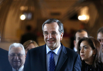 Greece's Prime Minister Samaras arrives at the European Parliament in Brussels