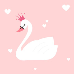 cute lovely princess swan on pink background vector illustration