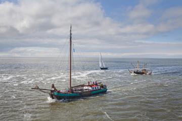 Boats and ship sailing at Waddenzee Netherlands