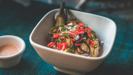 Eggplant salad with chili