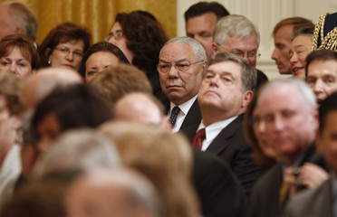 Former Secretary of State Powell is pictured in audience as former President Bush and former first lady Laura unveil their official White House portraits in Washington