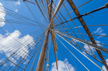 Standing rigging on an old ship