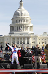 "Comedian Colbert addresses the crowd with Stewart during their ""Rally to Restore Sanity and/or Fear"" on the National Mall in Washington"