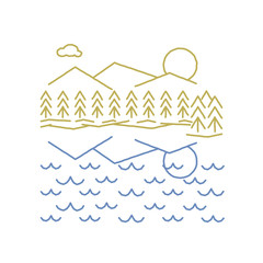 Mountains & trees reflected in a lake or ocean in a simple rough line drawing.