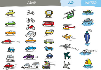A set of hand drawn transport vectors in a loose, colourful, doodle style