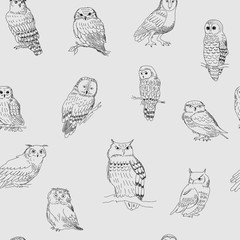 Stylish seamless pattern with owls on a gray background