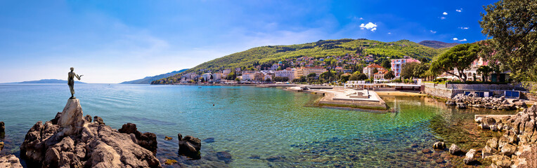 Adriatic town of Opatija waterfront panoramic view