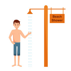 man taking shower on the beach. Boy under shower vector illustration isolated on white background