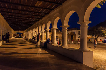 SUCRE, BOLIVIA - APRIL 22, 2015: Archway on Plaza Anzures square in Sucre, capital of Bolivia.