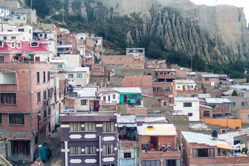 Houses on a steep slope in La Paz, Bolivia