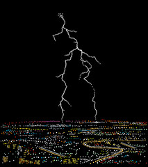 Lightning over the night city