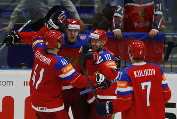 Russia's Malkin celebrates his goal against Sweden with team mates during their Ice Hockey World Championship quarterfinals game at the CEZ arena in Ostrava