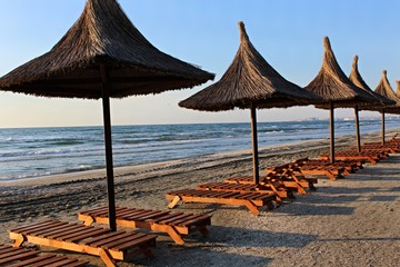Umbrellas on the beach in Romania