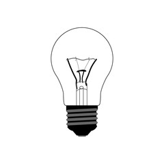 Flat black halogen lamp in cutaway style. Outline classical electric light bulb with realistic spiral inside. Vector illustration