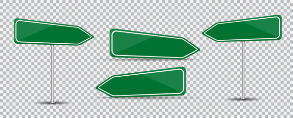Road Sign Isolated on transparent background Blank green arrow traffic. Vector Illustration.