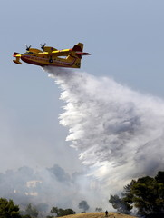 A firefighting plane drops water over holiday homes in southeastern Greece