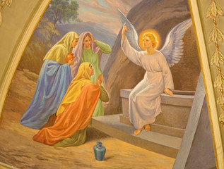 Wall Mural - TURIN, ITALY - MARCH 13, 2017: The fresco Women Visit the Empty Tomb in Church Chiesa di Santo Tommaso by C. Secchi from bechin of 20. cent.