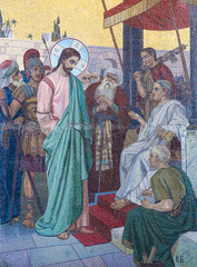 Mosaic of Jesus and Pontius Pilate on Good Friday