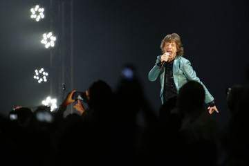 Mick Jagger of the Rolling Stones performs during their concert in Singapore