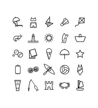 Pictogramme, icône, plage, mer, vacances, été