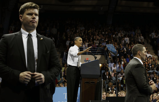 U.S. President Barack Obama talks about the rising costs of student loans at the University of North Carolina at Chapel Hill